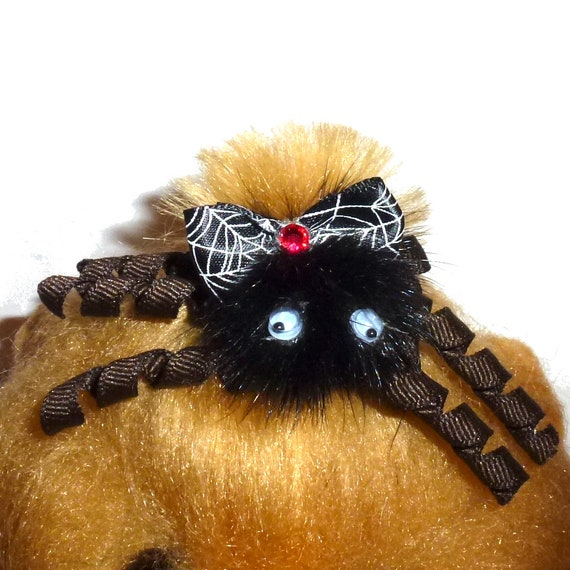 Puppy Dog Bows ~ Halloween korker fuzzy feather spider  barrettes or bands