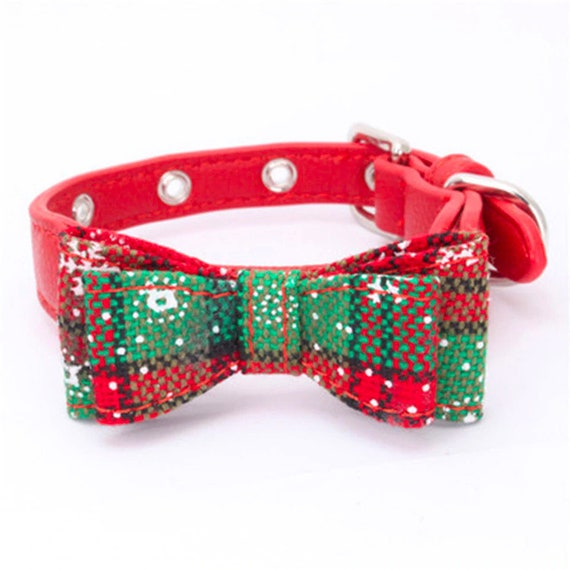 Puppy Dog Bows ~ Christmas bow tie bowknot dog pet collar red green  (fb151)