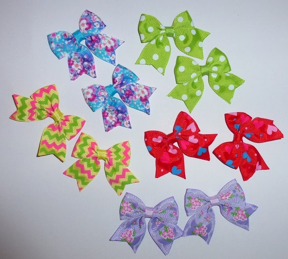 Puppy Bows ~ 10 dog bow for girls - pairs dog grooming pet hair bows - (218d)
