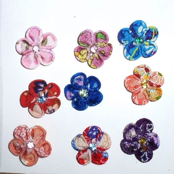 Puppy Dog Bows ~ Daisy Kanzashi Japanese windflowers pet hair bow barrettes MANY COLORS! (SBB)