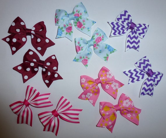 Puppy Bows ~ 10 dog bow for girls - pairs dog grooming pet hair bows - (218a)