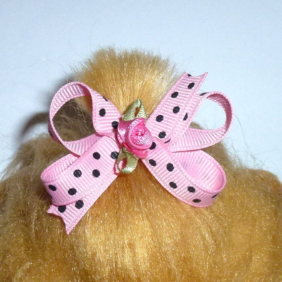 Puppy Bows ~3 twisted boutique pink dots  Yorkie Maltese Shih Tzu ~Usa seller (fbdr)