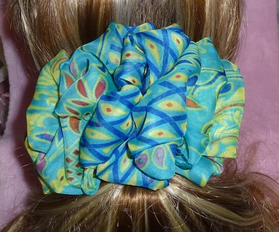 Becky Bows ~  Barrette scarf Hand crafted oversized  BIG hair bow Women or Girls peacock blue green