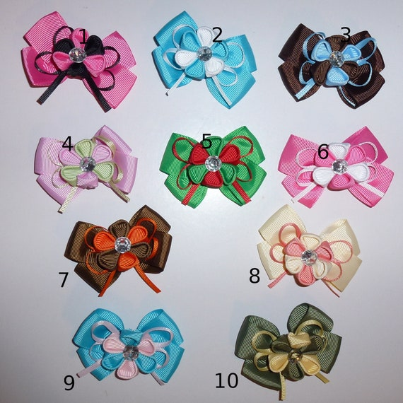 Puppy Dog Bows ~ Double loop bow with Daisy Kanzashi boys or girls pet hair bow barrettes MANY COLORS! (SBB)