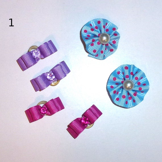 "Puppy Bows ~WEE TINY 3/8"" show bows pairs dog bow  pet hair clip barrette or latex bands (set1)"