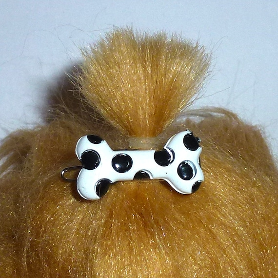 Puppy Bows ~Barrette DOG BONE black white dots  Boys  pet hair clip ~USA seller