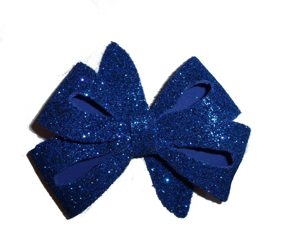 Puppy Bows ~ Large glitter pet hair bow with latex bands or barrette (fb142)