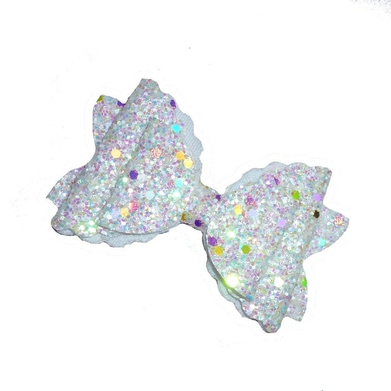 White crystal ab glitter BIG DOG pet hair bow with plastic ball clip barrette or latex bands  (fb266)