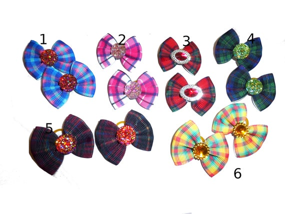 Puppy bows pretty plaid pairs dog hair bow latex bands or barrette  (fb87)