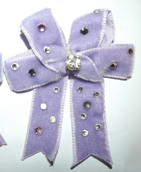 Puppy Bows ~ One Pair Large velvet rhinestone covered topknot or pet ear dog grooming hair bow ~ US seller