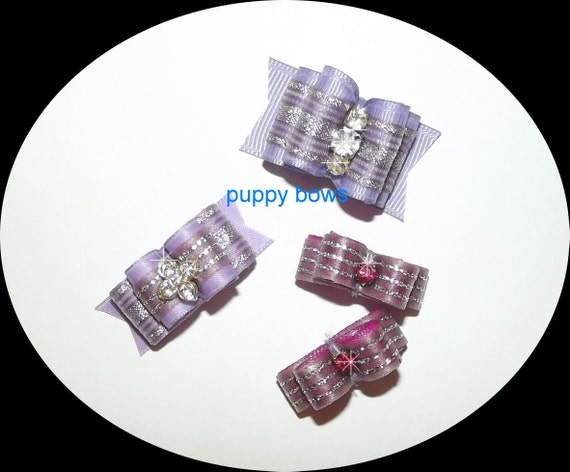 Puppy Bows ~ lavender rhinestone double looped show bow 3 sizes purple pet hair ~USA seller (fb18)