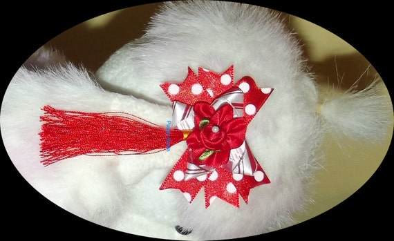 Puppy Bows ~ CLEARANCE SALE 50% OFF 6 color choices Poodle dog ear bows flowers tassels spikey pet hair bow barrettes or bands