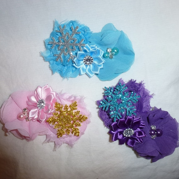 Puppy Bows ~ Winter  dog bow Christmas collar slide frozen WITH OR WITHOUT snowflake blue pink or purple  (DC8)