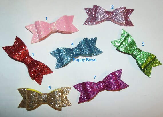 "Puppy Bows ~CLEARANCE glitter bow for medium/large dogs  2.5"" MANY COLORS!  ~Usa seller  (fb21)"