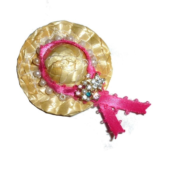 Puppy Bows ~ Pink pearl and rhinestone straw hat dog bow with pet hair clip (fb9)