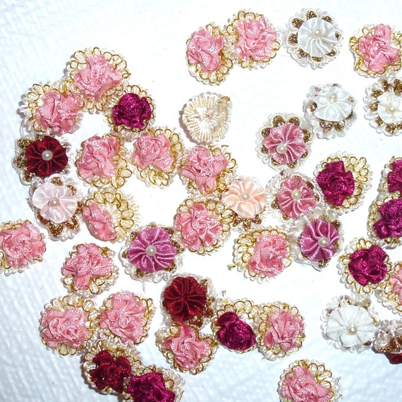 Puppy Bows craft items ~  10 assorted pink burgundy white ribbon rose flower appliques lace metallic thread