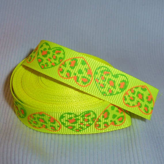 "Puppy Bows ~  craft supplies bright yellow grosgrain 5/8"" ribbon orange animal print hearts 5 yards"
