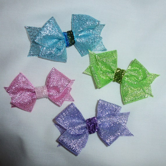 Puppy Bows ~Metallic glitter pink green purple blue  pet boys girls  hair bowknot bow bands or barrette 12 colors!  ~USA seller