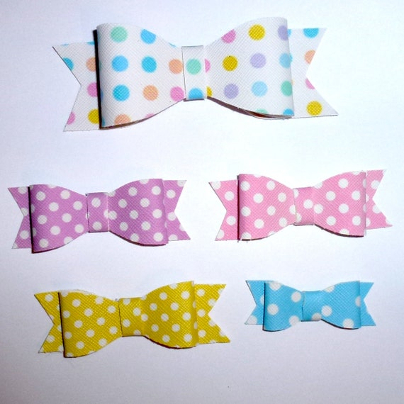 Puppy Bows ~Colorful Polka dots pink purple yellow dog pet  hair bowknot bow bands or barrette or collar slide ~USA seller