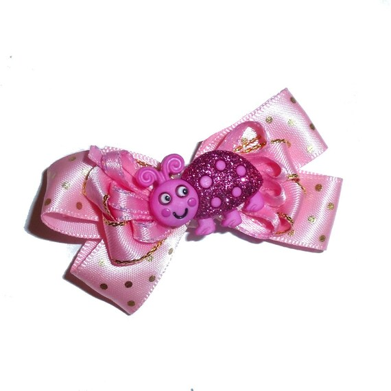 Puppy Bows ~Pink gold dot love bug dog bow  pet hair clip barrette or latex bands (fb27)