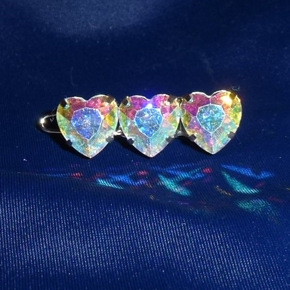 "Dog hair clip WEE super TINY 1"" AB rhinestones hearts barrette"