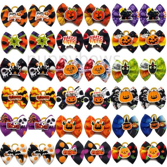 Halloween dog bows ghost pumpkin bat candy corn everyday dog groomers grooming pet hair bows