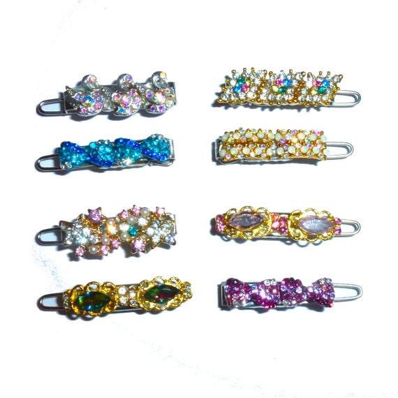 Puppy Bows ~ Wee super tiny hair flower clips for dogs bow pet barrette multi styles shapes bowknot crystal rhinestone~ US Seller