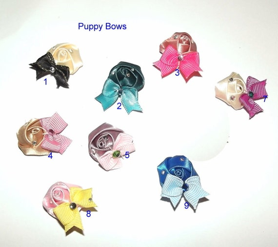 Puppy Bows ~ Super wee tiny hand rolled rose with tiny bow and rhinestones barrette or band dog hair accessories