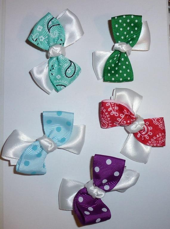 Puppy Bows ~ 5 double loop mix  pet hair bow latex band ~Usa seller (fb92)