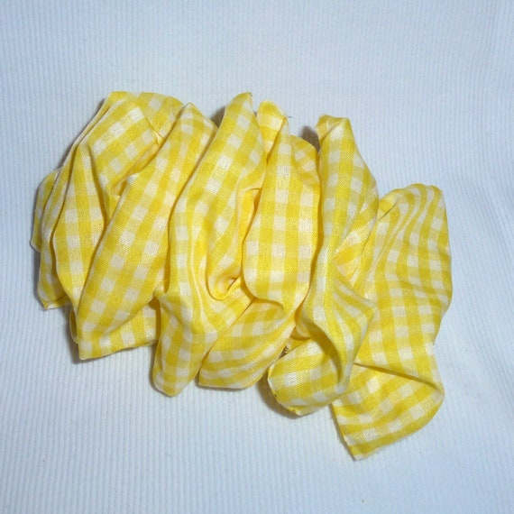 Becky Bows ~  Barrette ribbon Hand crafted over sized  BIG hair bow Women or Girls gingham yellow