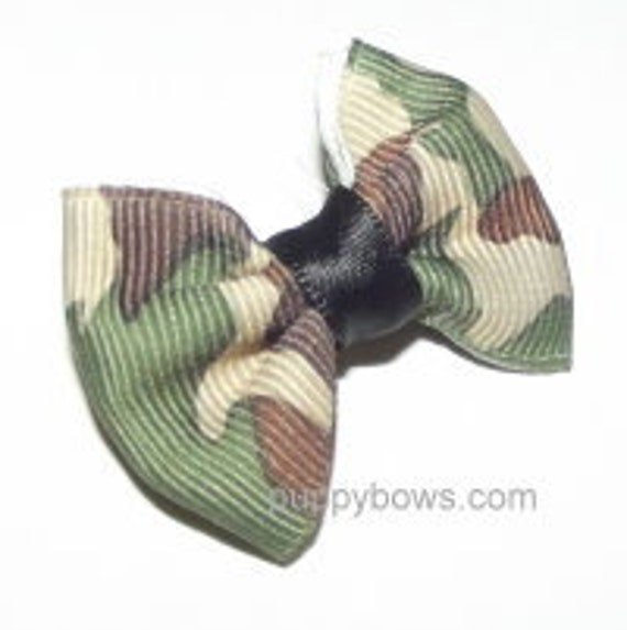 Puppy Bows ~Blue Camo Green Camo Brown  dog bow  pet hair clip barrette