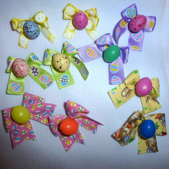Puppy Bows ~10 Easter egg dog grooming bows with  latex bands (EC)