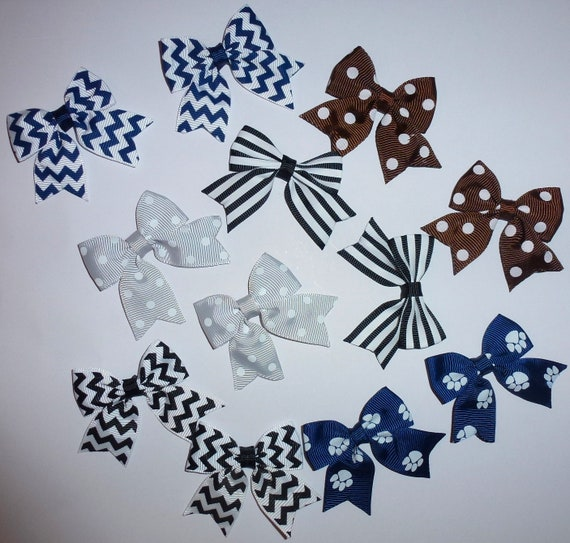 Puppy Bows ~ 12 dog bow for boys blues black - pairs dog grooming pet hair bows - (218s)