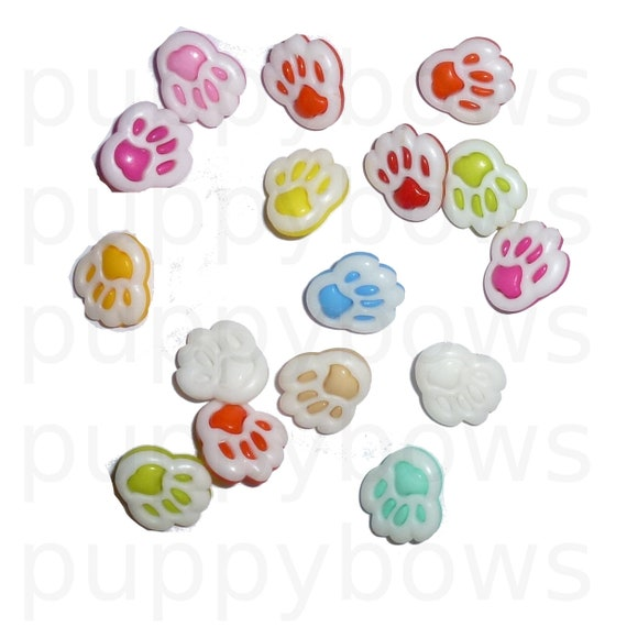 "Puppy Bows ~ craft supplies 1/2"" candy color paw print dog  buttons"