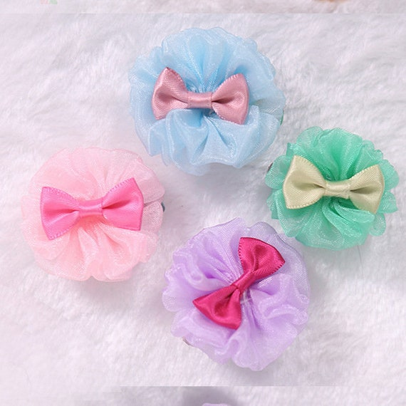Puppy Dog Bows ~ Ruffled twirl  rose flowers PINK & PURPLE blue green pet hair bow barrettes (fb159)
