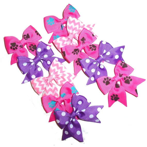 Puppy Bows ~ 10  everyday dog groomers pink purple pairs grooming pet hair bows girl colors polka dots chevron stripes paw prints (FB195)