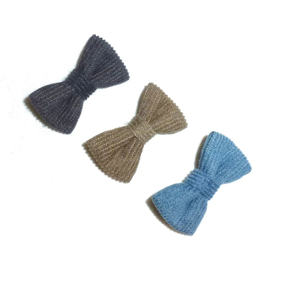 Puppy Bows ~ Boys corduroy pet hair bow blue gray or brown   (fb201)