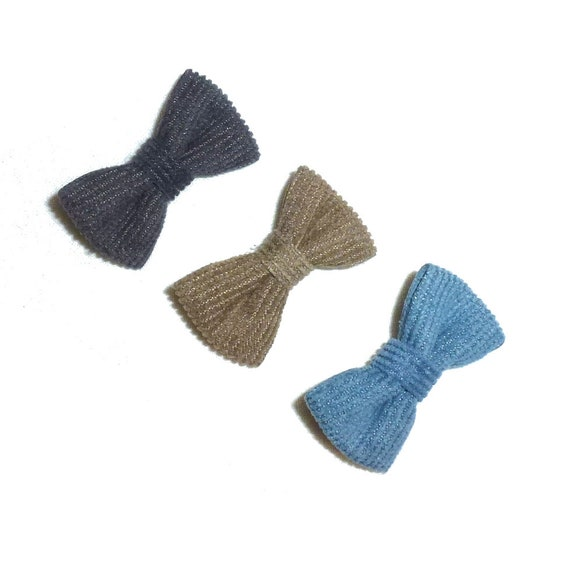 Puppy Bows ~ Boys corduroy pet hair bow blue gray or brown   (fb34)
