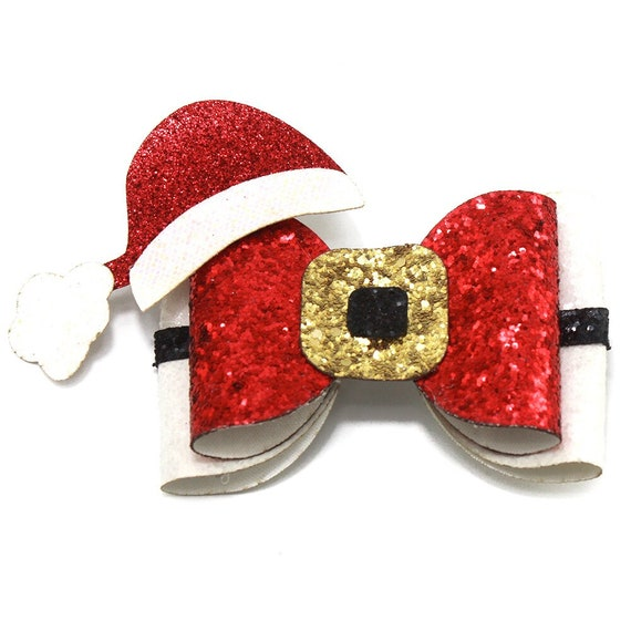 Puppy Bows ~ Santa hat and belt XL dog bow Christmas collar slide flower red gikd  ~USA seller (DC6)