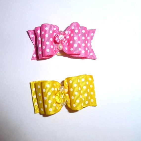 "Puppy Dog Bows ~ 7/8"" pink yellow polka dots pet hair show bow barrettes or bands"