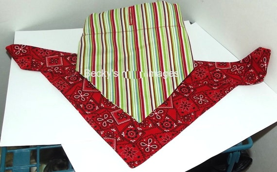 CLEARANCE SALE 50% OFFPuppy Bows~2 over the collar dog pet bandana large red green stripes ~US Seller