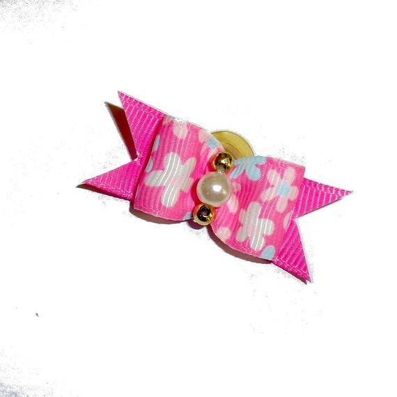 """Dog hair pet bow pink white daisy show bows 5/8""""  bands or barrette (fb215)"""