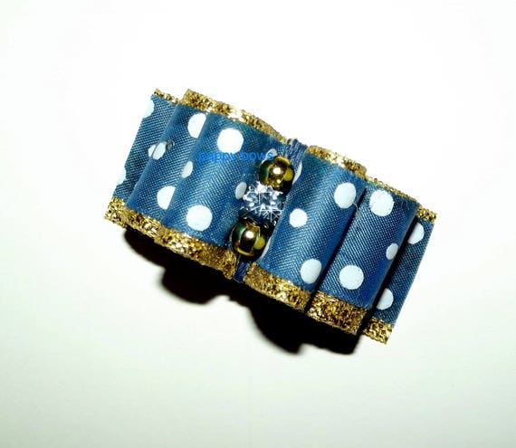 "Puppy Bows ~  7/8"" blue/gold polka dots show pet hair bow latex bands or barrette  (fb97)"