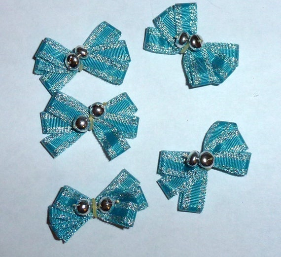 Puppy Bows ~5 tiny blue boys EVERYDAY BOWS Yorkie Maltese Shih Tzu ~Usa seller (fb81)