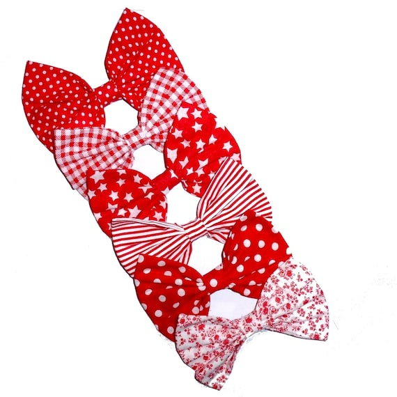 Puppy Bows ~ Red linen bow tie dog collar slide accessory flower OR large dog hair bow  ~USA seller (DC10)