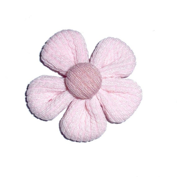 Pink daisy flower pet hair bow with plastic ball clip barrette or latex bands  (fb268)