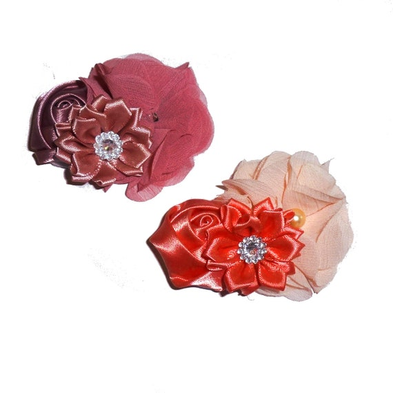 """Puppy Bows ~ dog hair bow coral peach or mauve 3"""" large pet flower bows or dog collar slide (fb182)"""