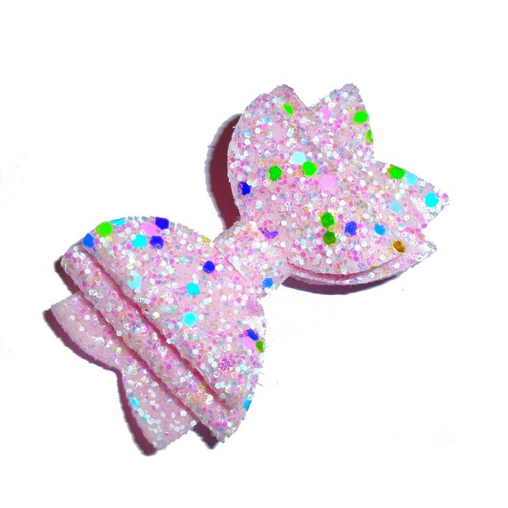 """Puppy Bows ~  BIG bow pink glitter 3"""" dog hair bow or collar slide bands or clip (fb264)"""