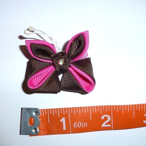 Puppy Bows ~  handmade pink/brown Japanese Kanzashi flower dog hair bow  (fb63)