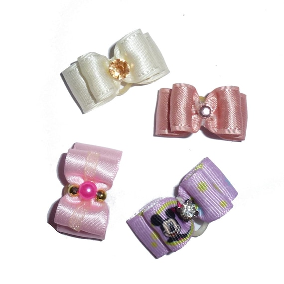"Puppy Dog Bows ~ 5/8"" satin bowknot SET OF 4! girls pet hair show bow barrettes or bands (saset5)"